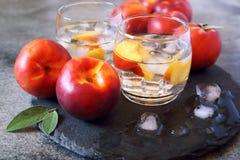 夏天饮食冷的饮料:戒毒所纯净的水用油桃和冰 图库摄影