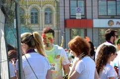 夏天,乌克兰, Kyiv,颜色跑2017年,男孩, 库存图片