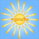 夏天,在蓝天的太阳 免版税图库摄影