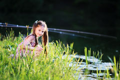夏天,太阳,孩子,湖 免版税库存照片