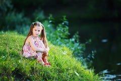 夏天,太阳,孩子,湖 库存照片