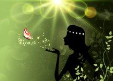 夏天,春天,森林神仙的剪影,魔术,幻想墙纸 库存图片