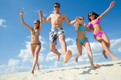 夏天,海滩 享用人 库存图片