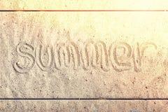 夏天,题字,沙子,海滩,假日,海,假期,词, 免版税库存图片