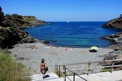夏天:十字架的海角小海湾在西班牙 库存图片