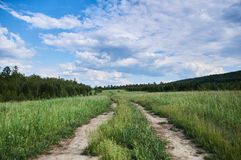 夏天 在领域的路在厚实的云彩下 库存照片