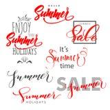 夏天 夏天设计,夏天销售 享受暑假 字法,手书面印刷术, 免版税库存图片