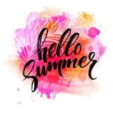 夏天水彩设计 夏天印刷术字法 也corel凹道例证向量 库存照片