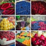 夏天水果和蔬菜拼贴画 免版税库存照片