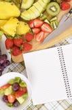 夏天水果沙拉碗,笔记本,拷贝空间,垂直 图库摄影