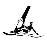 夏天水海滩体育,活动 与风帆的板,保温潜水服 供以人员在学会的委员会的身分风帆冲浪 风帆冲浪者tra 库存例证