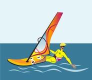 夏天水海滩体育,活动 与风帆的板,保温潜水服 供以人员在学会的委员会的身分风帆冲浪 风帆冲浪者tra 皇族释放例证