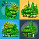夏天绿色林木和小动物在狂放的自然 动画片传染媒介集合树在室外公园 室外树 免版税库存图片