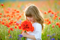 夏天画象有野花花束的一点秀丽女孩 库存照片