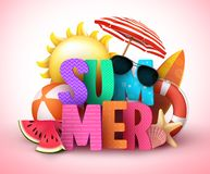 夏天3d文本传染媒介与五颜六色的标题和现实热带海滩元素的横幅设计 向量例证
