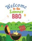 夏天bbq欢迎传染媒介平的颜色海报 皇族释放例证