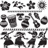 夏威夷人设置与舞蹈演员 库存照片