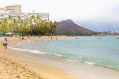夏威夷奥阿胡岛最中意的旅游目的地的waikiki海滩一在世界上 库存照片