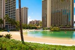 夏威夷奥阿胡岛honululu最中意的旅游目的地的waikiki海滩一在世界上 免版税库存图片
