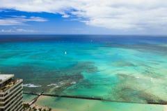 夏威夷奥阿胡岛honululu waikiki海滩,海景 图库摄影