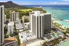 夏威夷奥阿胡岛honululu waikiki海滩,金刚石头,海景 免版税库存图片