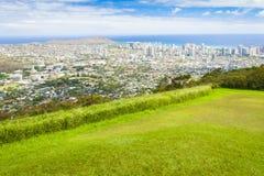 夏威夷奥阿胡岛waikiki城市,金刚石头,在viewi的海洋 免版税库存图片