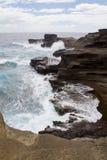 夏威夷岩石海岸线 免版税库存照片