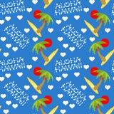 夏威夷旅行的传染媒介例证无缝的样式 有棕榈树的热带海岛 免版税库存照片