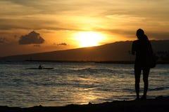 夏威夷日落 免版税库存照片