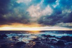 夏威夷日落 免版税图库摄影