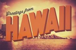 从夏威夷明信片的减速火箭的问候 免版税库存图片
