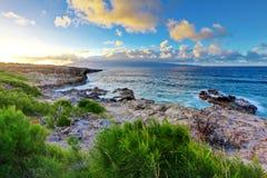 夏威夷毛伊海洋日落 免版税图库摄影
