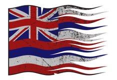 夏威夷波浪状态的旗子和Grunged 库存例证