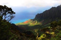夏威夷海岛kalalau考艾岛俯视谷 库存图片