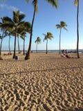 夏威夷海滩在阳光下 库存照片