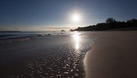 夏威夷海滩日落 免版税库存图片