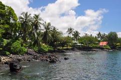 夏威夷的大岛的小拉古纳 免版税库存图片