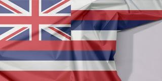 夏威夷织品旗子绉纱和折痕与白色空间,国家的美国 免版税库存图片