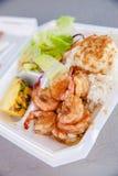 夏威夷虾scampi和米 库存照片