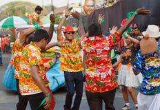 夏威夷衬衣跳舞的愉快的人在传统果阿狂欢节的明亮的游行 库存图片