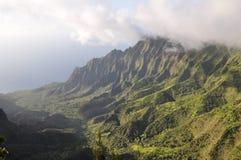 夏威夷kalalau考艾岛谷 免版税库存照片