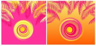 夏季的与黄色和桃红色椰子棕榈叶和热的太阳的T恤杉热带印刷品变异在桃红色和橙色背景 免版税库存照片