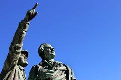 夏慕尼山历史勃朗峰第一个上升占领纪念碑山顶 库存图片