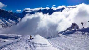 夏慕尼滑雪道,法国 库存照片