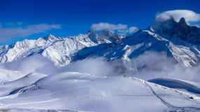夏慕尼滑雪道,法国 免版税库存照片