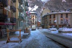 夏慕尼镇,法国,冬天2012年 库存图片