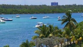 夏日迈阿密海滩海湾游艇交通公园4k佛罗里达美国 影视素材