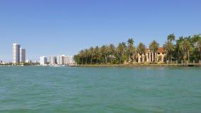 夏日迈阿密街市小船乘驾星海岛4k佛罗里达美国 影视素材