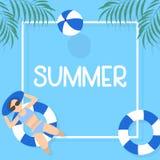 夏时与水池大海的背景设计 库存图片