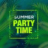 夏时党背景,棕榈叶,天空,夜,旅行,海报,事件,传染媒介例证 库存图片